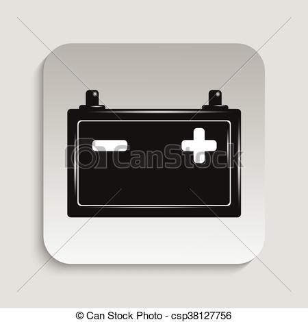 450x470 Car Battery. Vector Icon. Black And White Vector Image.