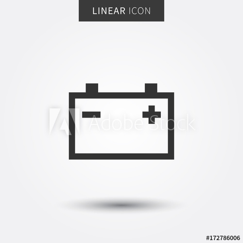 500x500 Check Car Battery Vector Illustration. Accumulator Sign Line Art