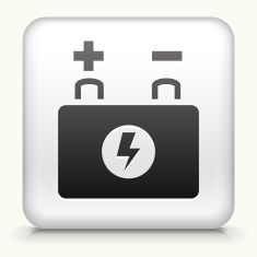 235x235 Square Button With Car Battery Vector Art Illustration Royalty