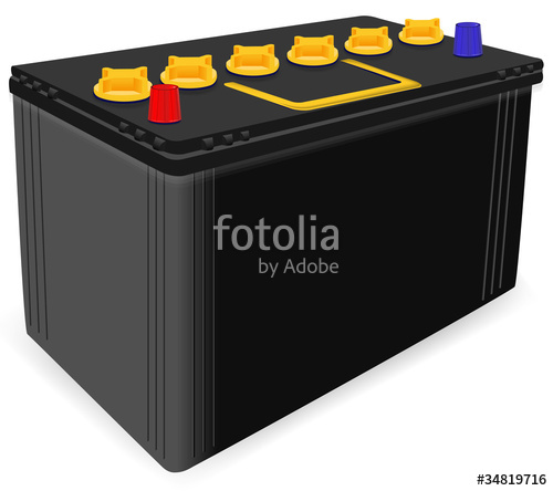 500x444 Black Car Battery Isolated On White Background Stock Image And