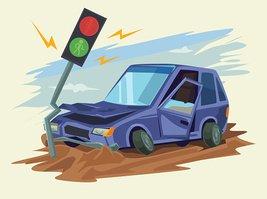 267x199 Car Crash Road Vector Flat Illustration Stock Vectors