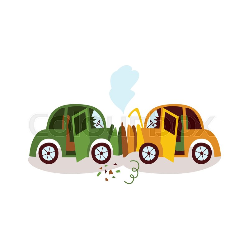800x800 Car Accident, Head On Collision, Fender Bender, Side View Cartoon