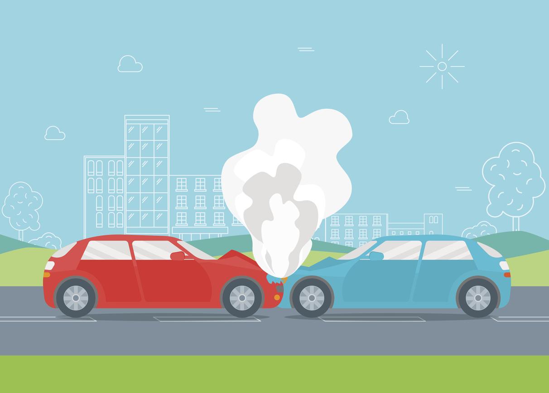 1212x866 Cartoon Car Crash Or Accident. Vector