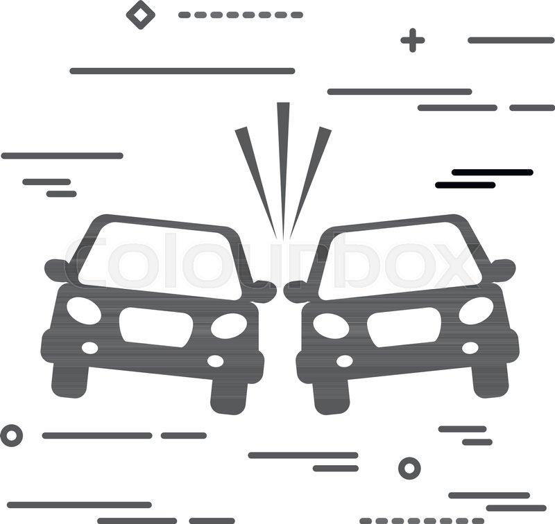 800x756 Flat Line Design Graphic Image Concept Of Car Crash Vector