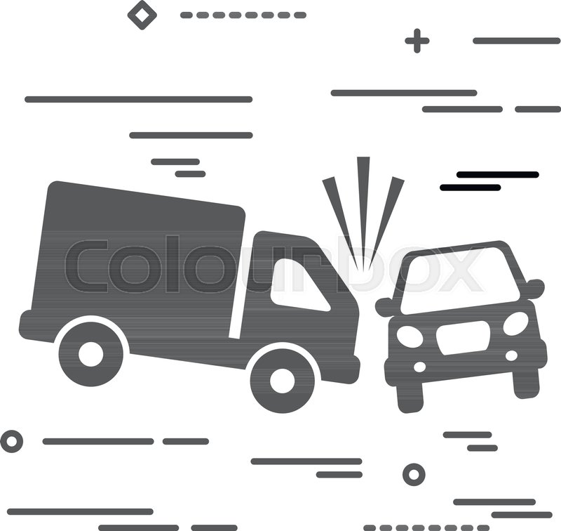 800x756 Flat Line Design Graphic Image Concept Of Truck And Car Crash