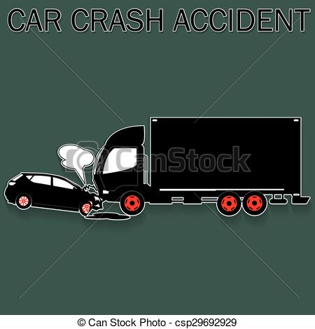 450x470 Truck And Car Crash. Car Collides With Truck In Vector Format.