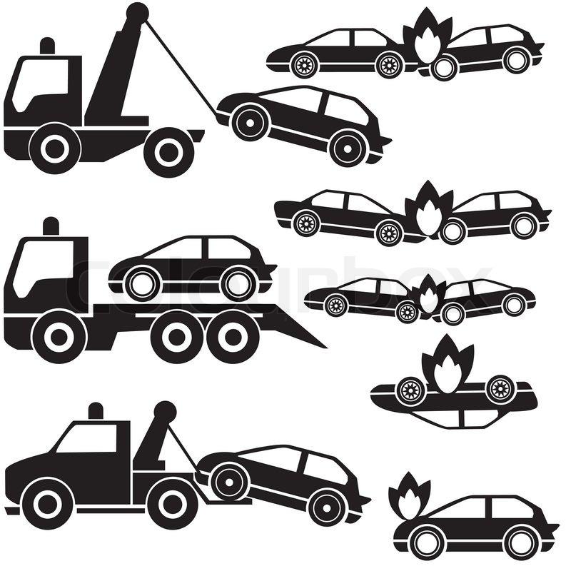 800x800 Black Tow Truck Icons And Car Crash Stock Vector Colourbox