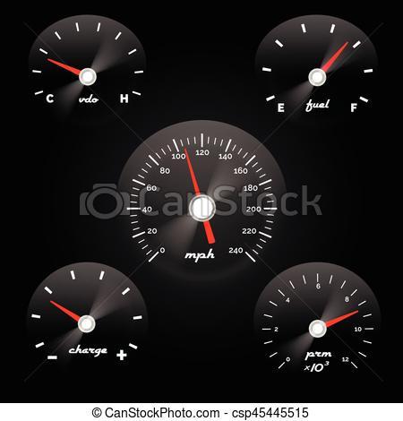 450x470 Car Dashboard Gauge On Black Background. Speed Concept Power Meter