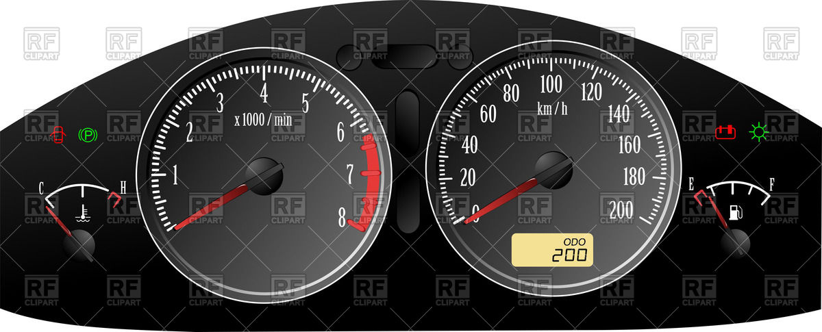 1200x485 Car Dashboard Gauges Speedometer, Rpm And Fuel Level Indicator