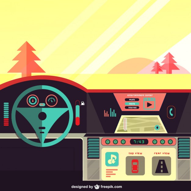 626x626 Car Dashboard On The Road Vector Free Download