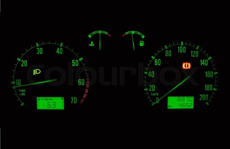 800x517 Green Illuminated Car Dashboard