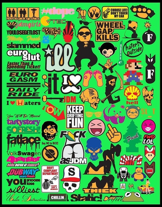 570x728 Jdm Car Decal Vector Collection 1 To 10