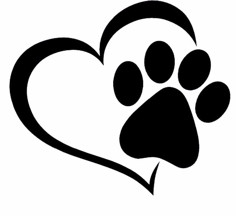 800x728 Paw Print And A Heart Car Decal Free Vector Dog Paw