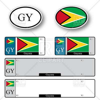 400x400 Template Of Car Plate Number With Flag Of Guyana And Oval Car