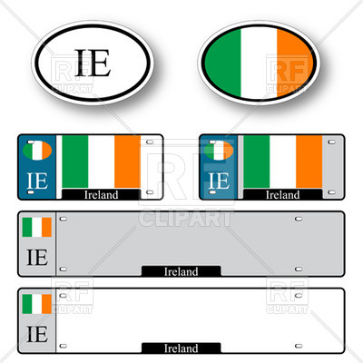 400x400 Template Of Car Plate Number With Flag Of Ireland And Oval Car
