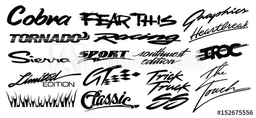 500x231 Text Racing Car Decals, In Isolated Vector Format