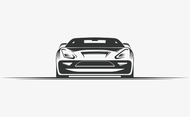 650x400 Hand Painted Sports Car Front, Car Vector, Sports Clipart, Car