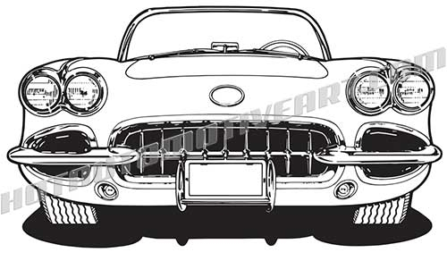 500x292 1960 Chevy Corvette C1 Vector Clip Buy Two Images, Get One Free