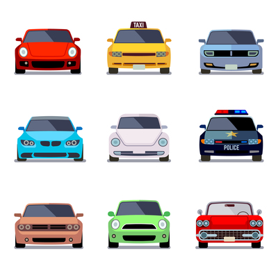 400x400 Car Front View On Curated Vector Illustrations, Stock Royalty Free