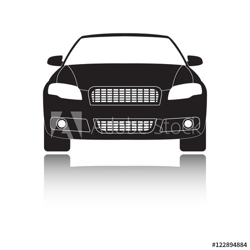 500x500 Car Front View Icon Or Sign. Vector Illustration Of Vehicle With