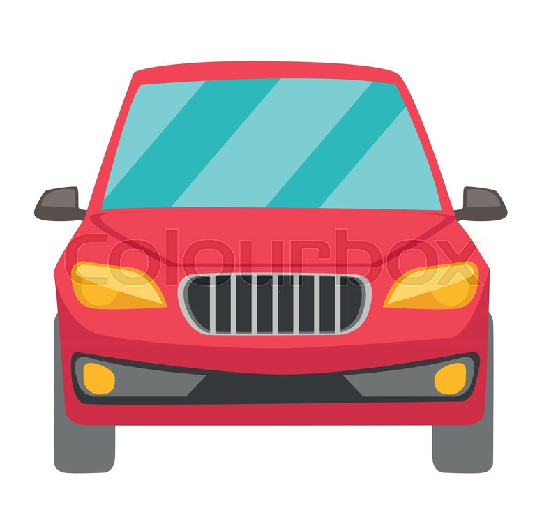 800x741 Red Car. Front View. Vector Cartoon Illustration Isolated On White