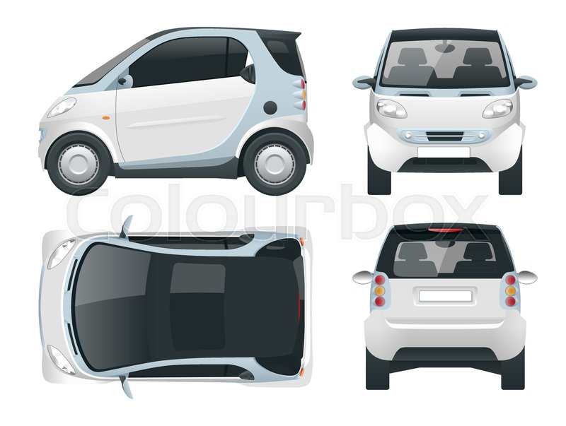 800x603 Vector Compact Smart Car. Small Compact Hybrid Vehicle. Eco