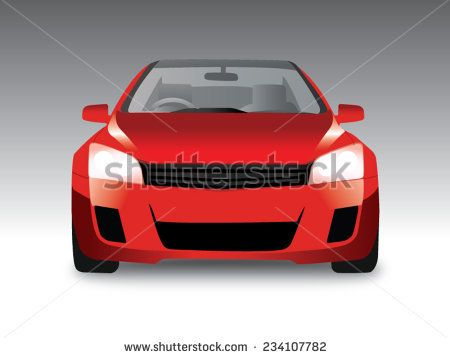 450x358 Sports Red Car Front View, Vector Illustration Car