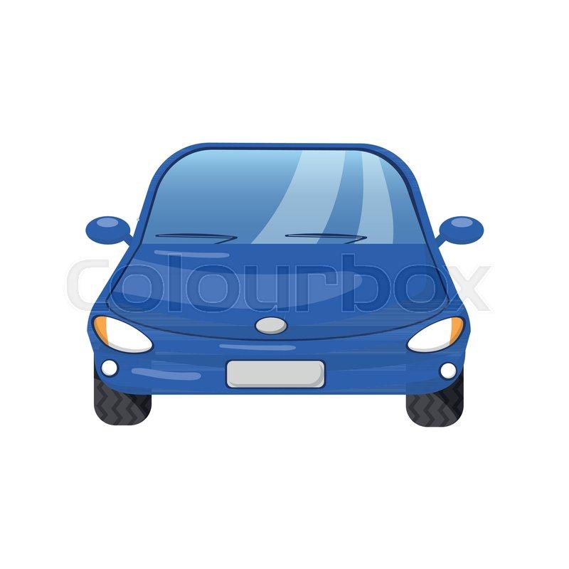 800x800 Blue Car Front View, Auto Insurance Concept Cartoon Vector