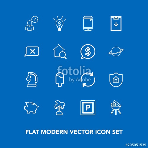500x500 Modern, Simple Vector Icon Set On Blue Background With Arrow