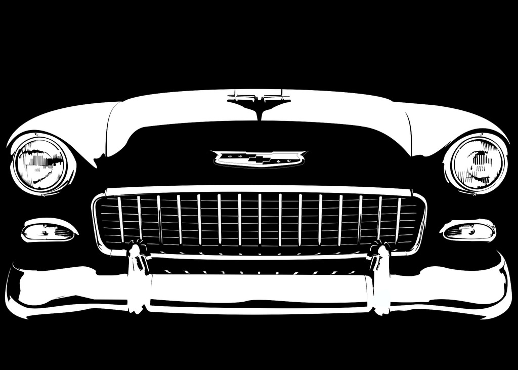 1024x731 55 Chevy Bel Air On Black The Beginning Of A Small
