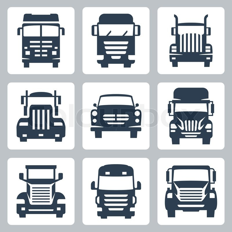 800x800 Vector Isolated Trucks Icons Set Front View Stock Vector