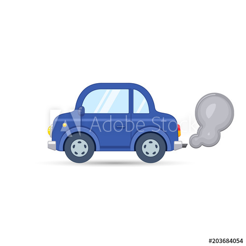 500x500 Car Side View. Car Exhaust Traffic Fumes. Vector Isolated Flat