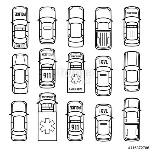 500x500 Cars Top View Thin Line Vector Icons. Set Of Model Car Sedan, Taxi