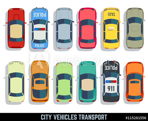500x409 Cars Top View Vector Flat City Vehicle Transport Icons Set