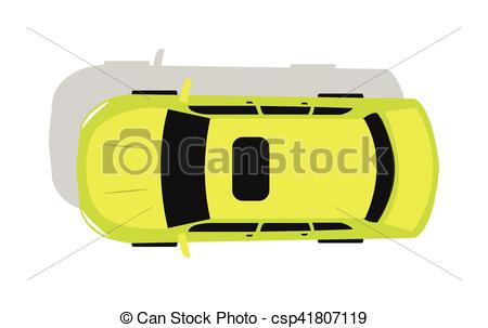 450x303 Green Car Top View Flat Design Vector Illustration. Green Car From