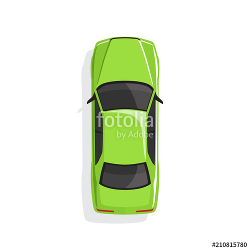 500x500 Green Cartoon Car. Top View. Vector Illustration Stock Image And
