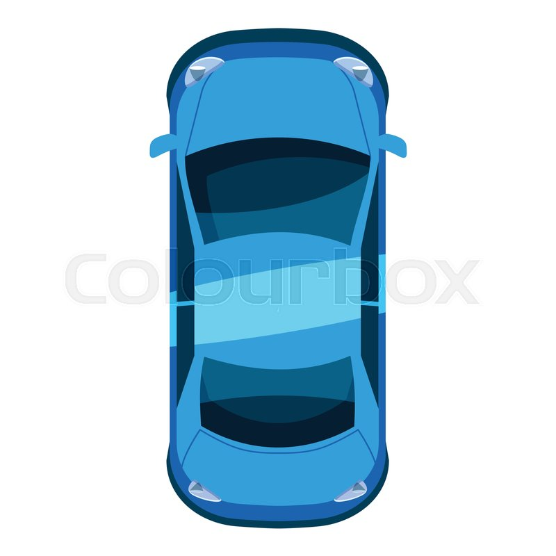 800x800 Blue Car Top View Icon. Isometric 3d Illustration Of Vector Icon