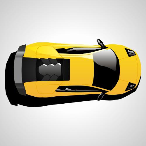 500x500 Lamborghini Car Top View. Free Vector Illustration Cars