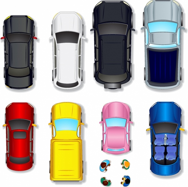 600x596 Top View Abstract Cars Free Vector In Adobe Illustrator Ai ( .ai
