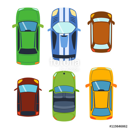 500x500 Vector Car Vehicle Set Icon Top View. From Above Car Top View