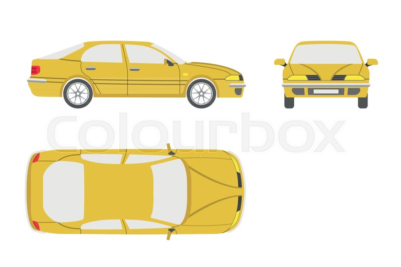 800x534 Yellow Car On A White Background . Three Views Front, Side , Top