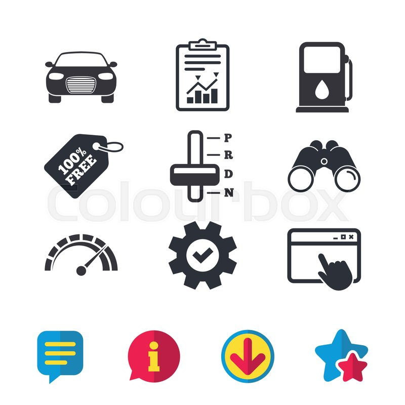 800x800 Transport Icons. Car Tachometer And Automatic Transmission Symbols