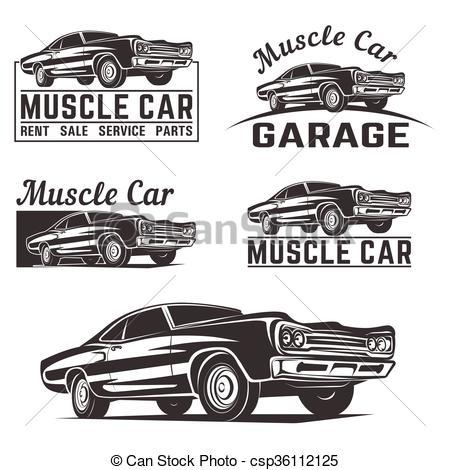 450x470 Muscle Car Vector Logo Emblem. Muscle Car Vector Poster Logo
