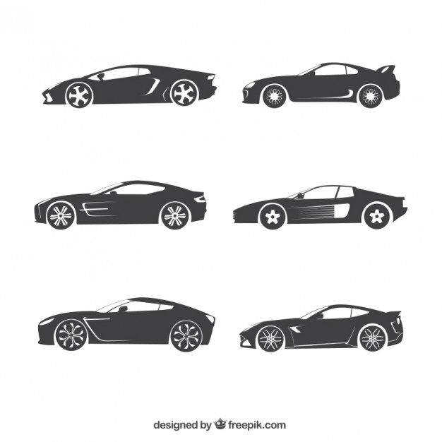 626x626 Car Silhouettes Collection Vector Free Download