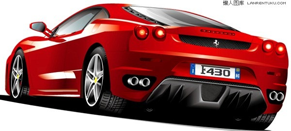 600x271 Exquisite Red Ferrari Sports Car Vector Material My Free