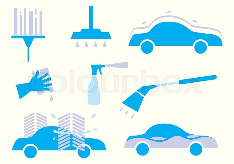 800x560 Car Wash. Vector Icon Wash Car. Clean Car, Car Polish, Car Wash