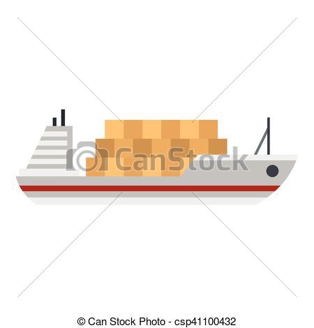 450x470 Cargo Ship Icon, Flat Style. Cargo Ship Icon. Flat Illustration Of