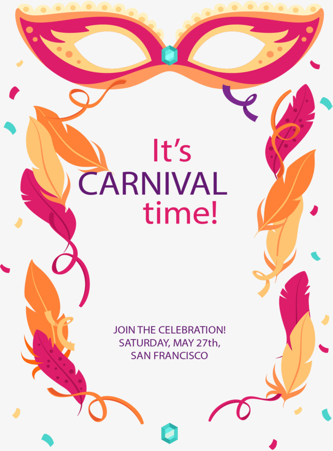 650x880 Brazil Carnival Party Poster, Carnival Mask, Feather, Confetti Png