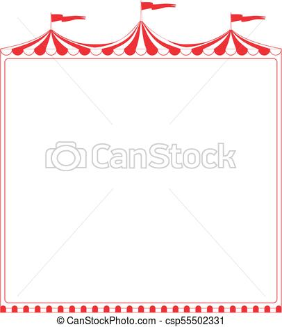 406x470 Circus Tent Sign. Circus Tent Border. Ideal For Poster, Sign