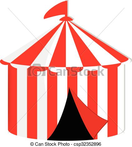 423x470 Circus Tent. Red And White Striped Circus Tent With Flag Vector